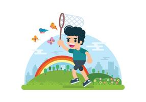 Boy Catching Butterfly Illustration