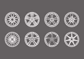 Sporty Aluminium Alloy Wheels Icons Vector