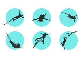 Bungee Silhouettes Free Vector Pack