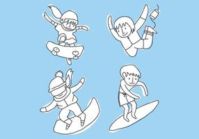 Crianças praticando vetores esportivos