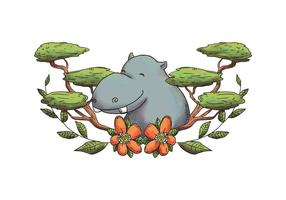 Carácter de Hippopotamus de la acuarela que sonríe con las hojas y las flores