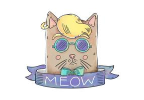 Funny Hipster Cat Character With Ribbon And Meow Phrase