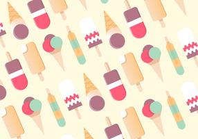Free Flat Design Vector Ice Cream Pattern Background