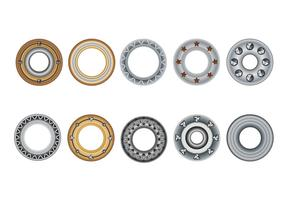 Set Eyelets, Flat Washer and Grommets on an Isolated White Background vector
