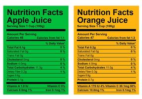 Nutrition Facts Label-Vektoren