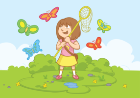 Girl with Butterfly Net Illustration Vectorisée