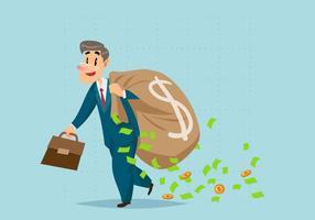 Hombre de negocios llevando una carga de vector de efectivo