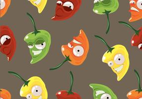Habanero cartoon seamless pattern vector