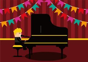 Homem que canta e que joga o vetor do piano