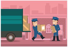 Movers con la ciudad de color rosa ilustración vectorial