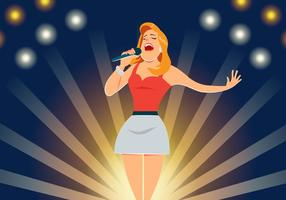 Sänger führt auf Bühnenvektor