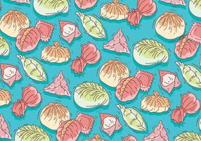 Dumpling Pattern Colorful Vector