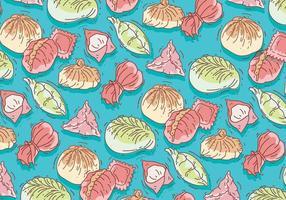 Dumpling Pattern Färgglada Vector