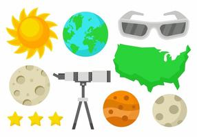 Solar Eclipse Icons Vector