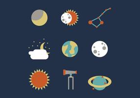 Solar Eclipse and Outer Space Vector Set