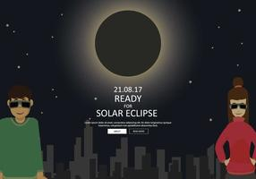Free Couple Ready To See Solar Eclipse Illustration