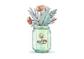 Watercolor Jar With Botanical Flowers And Leaves With Motivational Quote vector