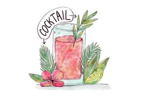Watercolor Cocktail With Palms, Leaves, Flowers And Lime