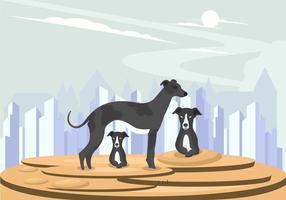Vecteur famille de chien whippet