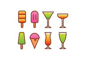 Ice Cream and Cocktail Icon Set