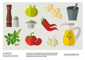 Comida italiana Ravioli Ingredients Vector Flat