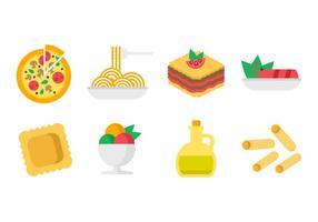 Vetor de ícones da cozinha italiana grátis