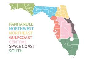 Florida Map with Regions Vector