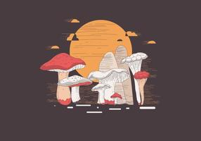 Mushrooms with a Lithograph Style Vector