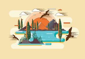 Mountain Lithograph Vector