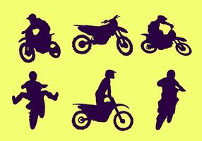 Vecteur libre de silhouette de motocross