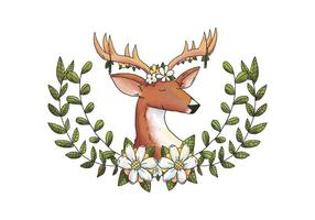 Watercolor Deer Animal Forest With Flower Crown And Leaves And Yellow Flowers vector