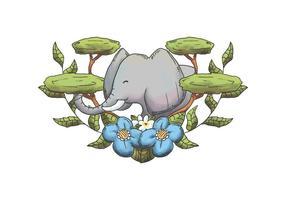 Aquarell Elefant mit Bäumen und Blätter Wildtier