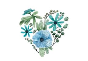 Watercolor Heart Blue and Green Flowers And Leaves vector