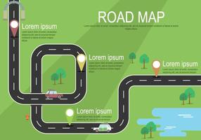 Free Road Map With Markers Illustration