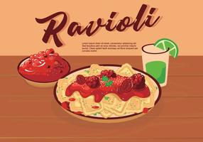 Italian Food Ravioli On Plate Vector Illustration