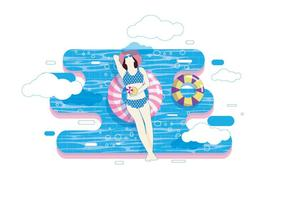 Relaxing in Innertube Vector