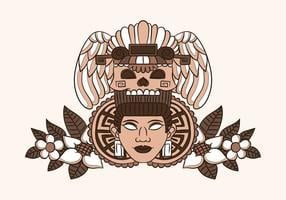 Ornament Aztecan Woman With Ethnic Skull And Leaves With Flowers