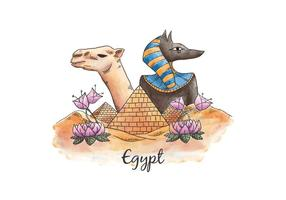 Watercolor Collage Camel Egypt Pyramids Egyptian God And Ancient Egypt
