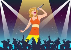Diva cantando en el vector de la etapa