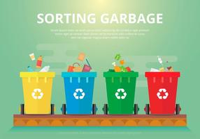 Sorting Garbage, Biodegradable Flat Illustration