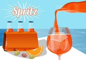 Refreshing Orange Spritz In Bottle Vector
