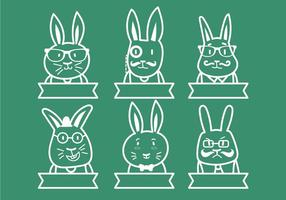 Hipster Easter bunny illustration set