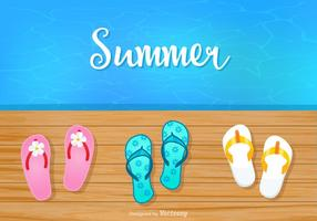 Summer Background With Flip Flops On Boardwalk Vector