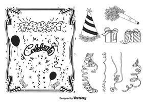 Coleção da silhueta do vetor da festa preta e da celebração