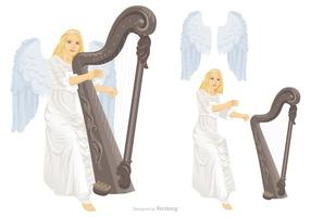 Beautiful Angel With Wings Is Playing Harp Vector