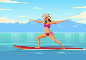Yoga Paddleboard Vector