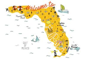 Florida Map Hand Drawn Illustration Vector