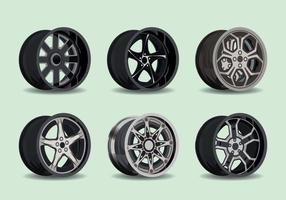 Metal Hubcap Collection Vector Illustration