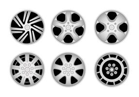 Six Types of Hubcaps  vector