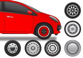 Variety of retro hubcap wheel vectors